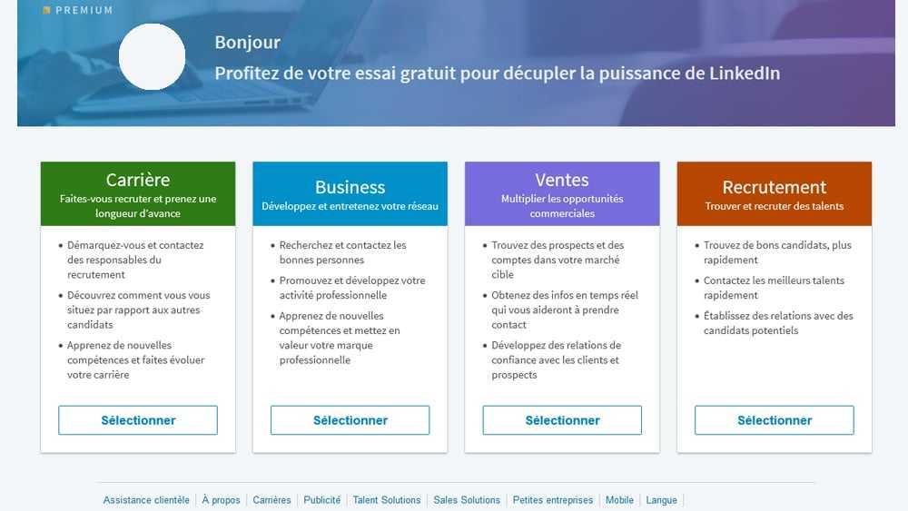 Linkedin vous propose 4 comptes Premium