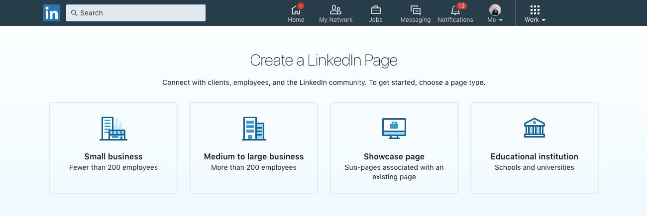 Etape 2 comment créer une page entreprise sur linkedin