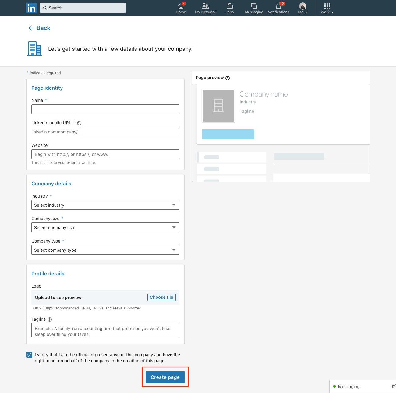 Coordonnées entreprise sur LinkedIn