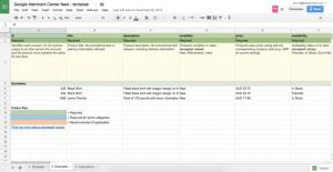 Google Merchant Center template Google Sheets