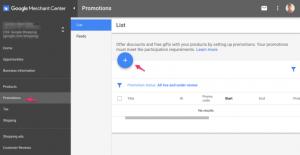 Google merchant center ajout promotion compte