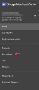 Google merchant center promotion compte