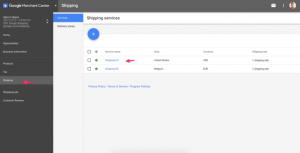 Google merchant center livraison
