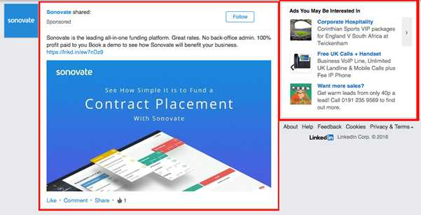 Emplacements Linkedin ads