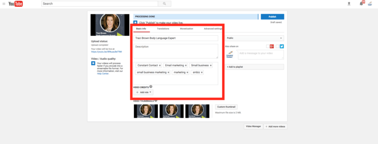 Titre, description et étiquettes YouTube