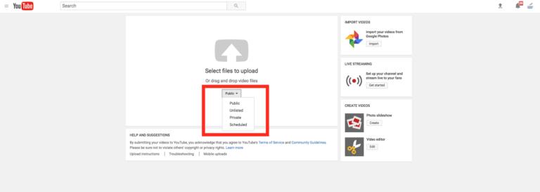 Paramètres de confidentialité Youtube