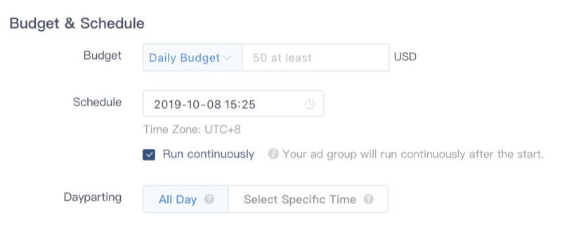 tiktok ads calendrier budget