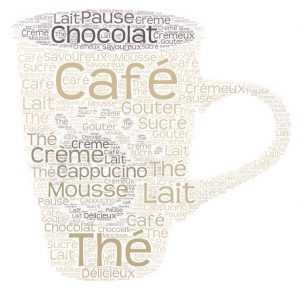 word art nuage de mots tasse café