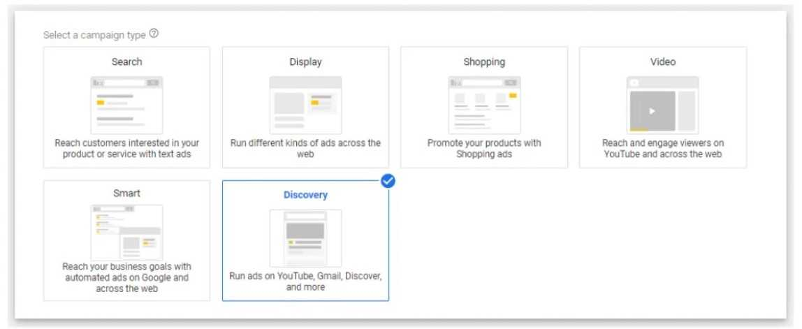 campagne type google discovery