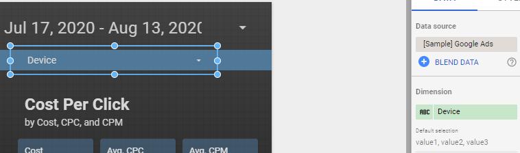data studio filtre